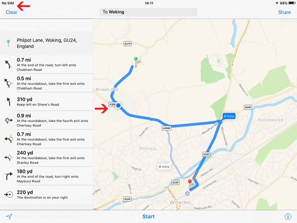 Live tracking on Googlemaps on an Ipad which has no sim card