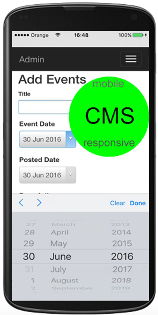 Smartphone showing mobile responsive cms