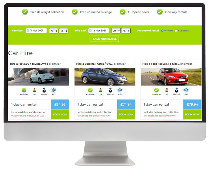National Vehicle Hire website development